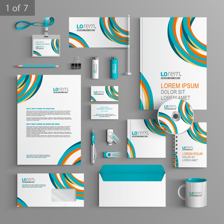 Illustration for Colorful stationery template design with art round lines. Documentation for business. - Royalty Free Image