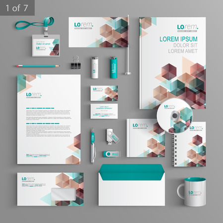 Illustration pour White corporate identity template design with color geometric pattern. Business stationery - image libre de droit