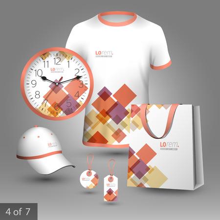 Illustration pour White promotional souvenirs design for corporate identity with red and purple geometric elements. Stationery set - image libre de droit