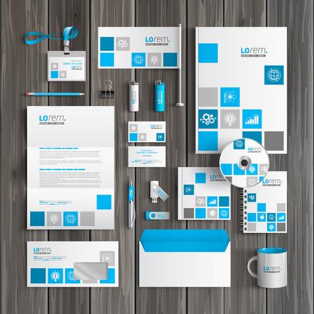 Foto de White corporate identity template design with blue economic icons. Business stationery - Imagen libre de derechos