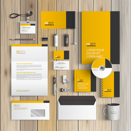 Illustration pour Classic yellow corporate identity template design with black vertical line. Business stationery - image libre de droit
