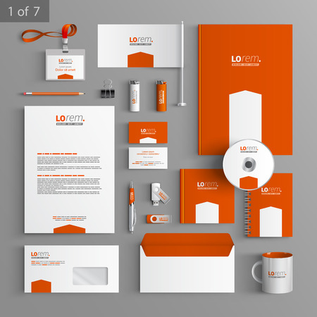 Ilustración de Orange stationery template design with white arrow. Documentation for business. - Imagen libre de derechos