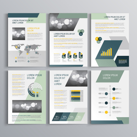 Ilustración de Gray brochure template design with blue and green geometric shapes. Cover layout and infographics - Imagen libre de derechos