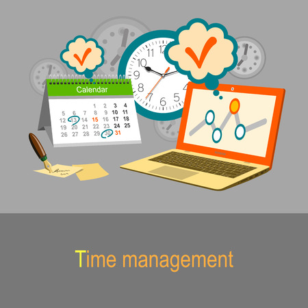 Illustration pour Time management concept. Calendar, watch and laptop. Color flat design illustration - image libre de droit