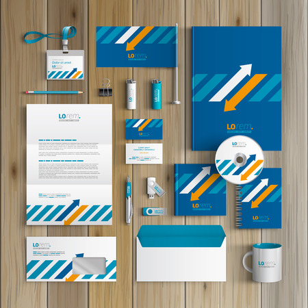 Ilustración de Blue corporate identity template design with white and orange arrows. Business stationery - Imagen libre de derechos