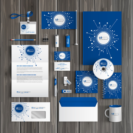 Ilustración de Blue digital corporate identity template design with optical fiber elements. Business stationery - Imagen libre de derechos
