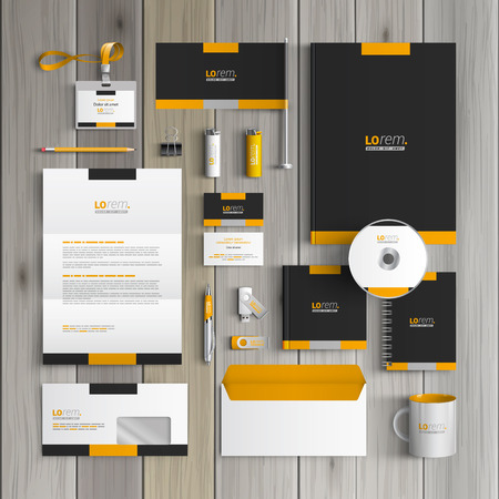 Ilustración de Black classic corporate identity template design with yellow shapes. Business stationery - Imagen libre de derechos