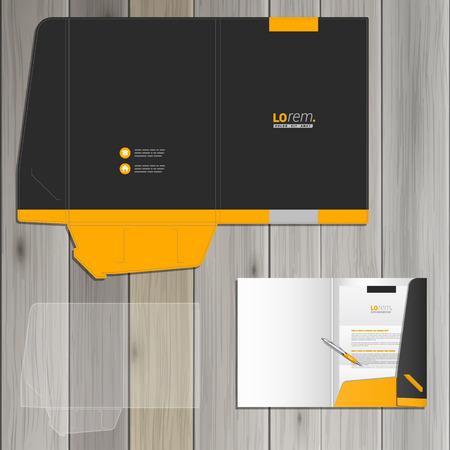 Foto de Black classic folder template design for corporate identity with yellow shapes. Stationery set - Imagen libre de derechos