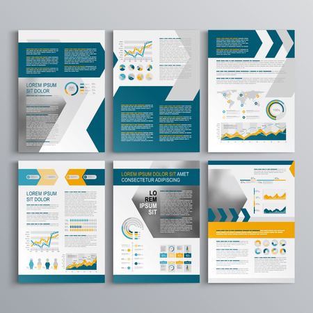 Illustration pour Dynamic brochure template design with yellow and blue arrows. Cover layout and infographics - image libre de droit