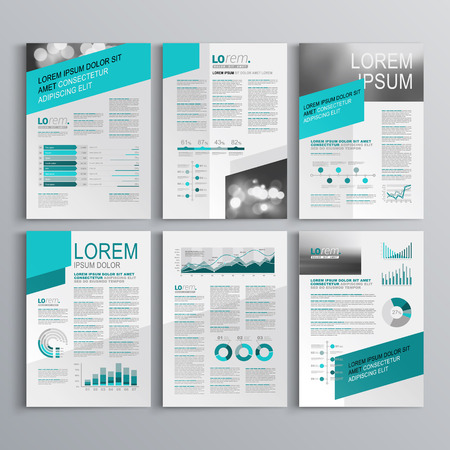 Illustration for Gray brochure template design with green diagonal shapes. Cover layout and infographics - Royalty Free Image