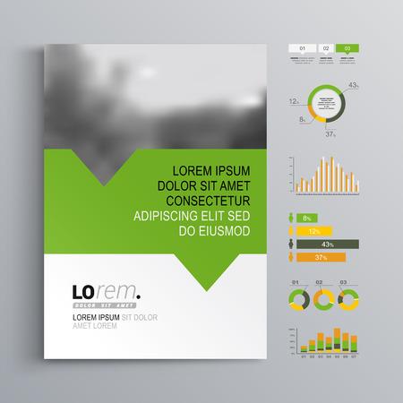 Ilustración de White brochure template design with green, orange and yellow shapes. Cover layout and infographics - Imagen libre de derechos