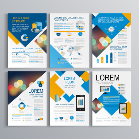 Illustration for Geometric brochure template design with blue and orange square elements. Cover layout and infographics - Royalty Free Image