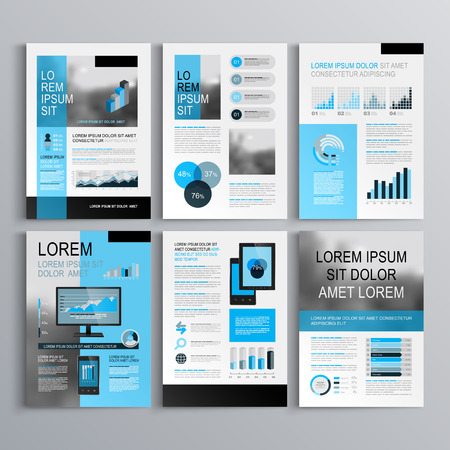 Ilustración de Classic brochure template design with blue shapes. Cover layout and infographics - Imagen libre de derechos