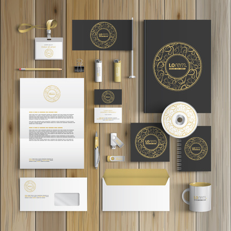 Ilustración de Black corporate identity template design with round golden element and floral pattern. Business stationery - Imagen libre de derechos