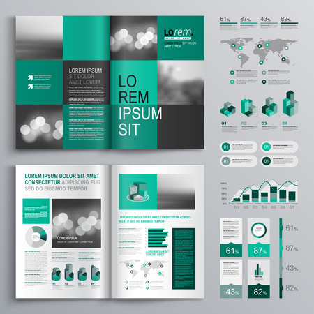 Ilustración de Checkered green brochure template design with square shapes. Cover layout and infographics - Imagen libre de derechos
