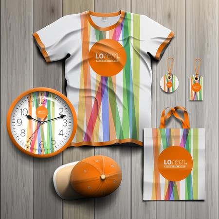 Foto de White promotional souvenirs design for corporate identity with color lines and orange shape. Stationery set - Imagen libre de derechos
