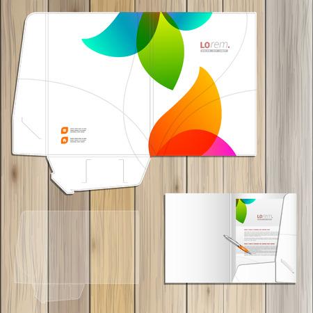 Foto de White creative folder template design for corporate identity with color shapes. Stationery set - Imagen libre de derechos
