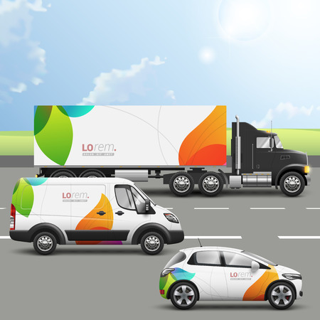 Photo pour White creative transport advertising design with color shapes. Templates of the truck, bus and passenger car. Corporate identity - image libre de droit