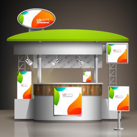 Ilustración de White creative exhibition stand design with color shapes. Booth template. Corporate identity - Imagen libre de derechos