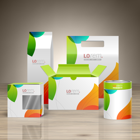 Illustration for White creative promotional package design for corporate identity with color shapes. Stationery set - Royalty Free Image