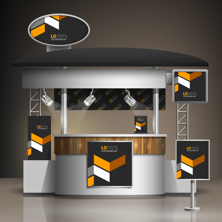 Illustration pour Classic black exhibition stand design with yellow geometric elements. Booth template. Corporate identity - image libre de droit