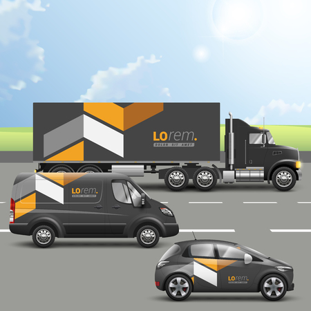 Photo pour Classic black transport advertising design with yellow geometric elements. Templates of the truck, bus and passenger car. Corporate identity - image libre de droit