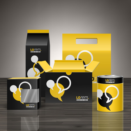 Illustration for Black and yellow promotional package design for corporate identity with dialog clouds. Stationery set - Royalty Free Image