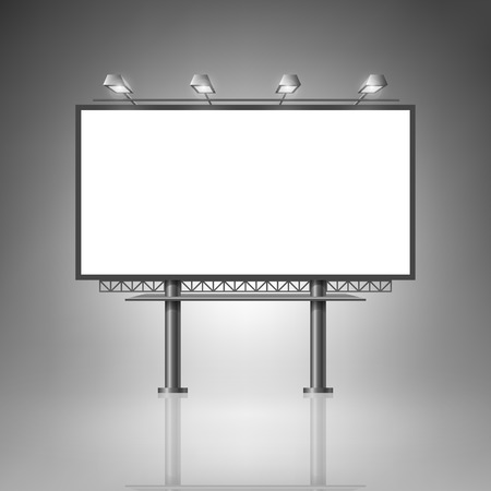 Illustration pour Template for advertising and corporate identity. Outdoor billboard with lighting. Blank mockup for design. Vector white object - image libre de droit
