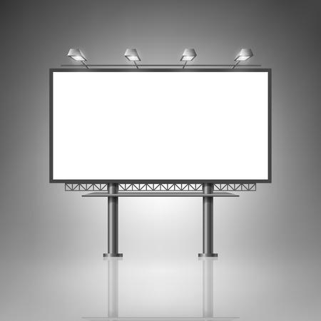 Ilustración de Template for advertising and corporate identity. Outdoor billboard with lighting. Blank mockup for design. Vector white object - Imagen libre de derechos