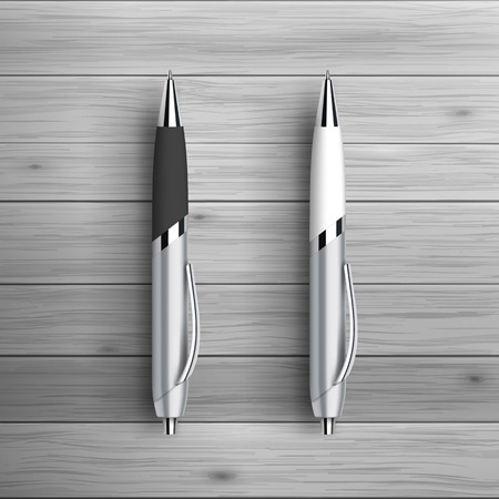 Illustration pour Template for advertising and corporate identity. Two ball pens. Blank mockup for design. Vector white object - image libre de droit