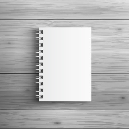 Illustration pour Template for advertising and corporate identity. Realistic spiral notepad. Blank mockup for design. Vector white object - image libre de droit