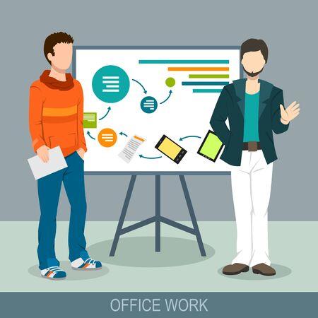 Illustration pour Business concept. A men making a presentation at the board. Report, meeting, skull session, council. Flat design illustration - image libre de droit