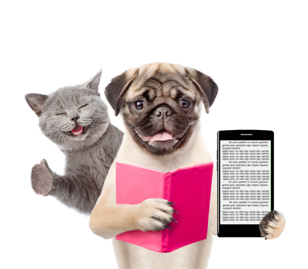 Funny cat and smart puppy with book and smartphone. isolated on white background.