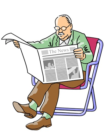 Illustration for Grandparent reading the news of the day in the newspaper, sitting in a beach chair  - Royalty Free Image