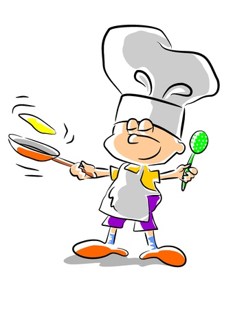 Illustration pour Little boy dreaming of becoming a great chef when I grow up. - image libre de droit