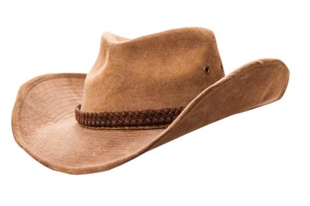 Foto de cowboy hat closeup isolated on a white background - Imagen libre de derechos