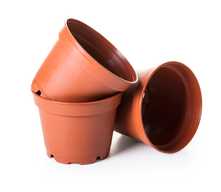Foto de new flower pots on white isolated background - Imagen libre de derechos