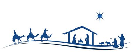 Ilustración de Christmas time. Nativity scene with Mary, Joseph, baby Jesus, shepherds and three kings. - Imagen libre de derechos