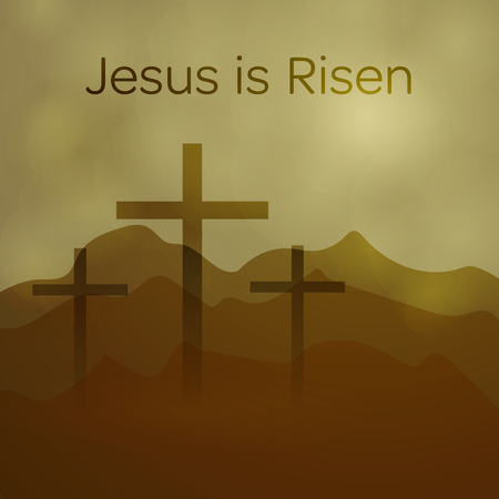 Illustration pour Easter background. Three crosses with text : Jesus is Risen. - image libre de droit