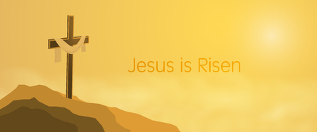 Illustration pour Easter background with Cross on rocks with shroud and text : Jesus is Risen. - image libre de droit