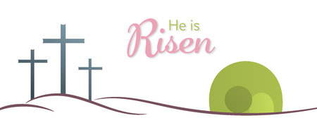 Illustration pour Easter background. Three crosses and empty tomb with text : He is Risen. - image libre de droit