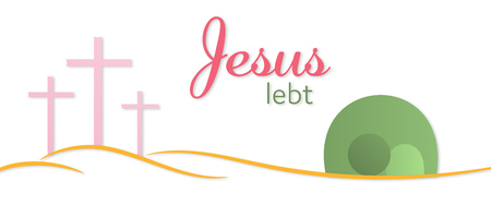 Illustration pour Easter background. Three crosses and empty tomb with text : Jesus is alive (in German). - image libre de droit