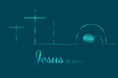 Illustration pour Easter background. Three crosses and empty tomb with text : Jesus is alive. Vector illustration. - image libre de droit
