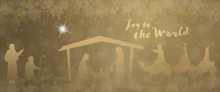 Ilustración de Christmas time. Nativity scene with Mary, Joseph, baby Jesus, shepherds and three kings in Christmas landscape. - Imagen libre de derechos