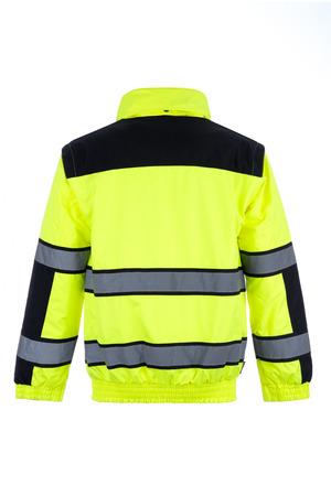 Foto de Rear view of a high-visibility rain jacket - Imagen libre de derechos