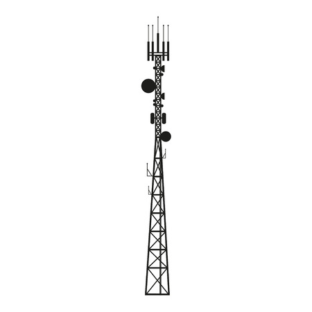 Ilustración de Telecommunication mast or mobile tower with satellite antenna - Imagen libre de derechos