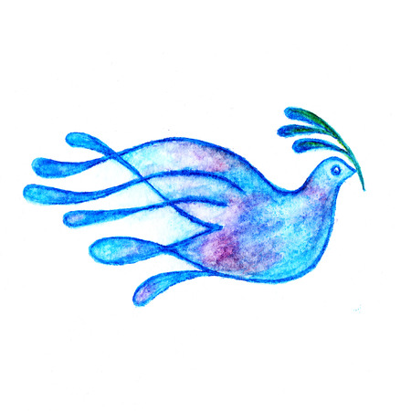 Photo for Dove with olive branch peace symbol watercolor pencils drawing - Royalty Free Image