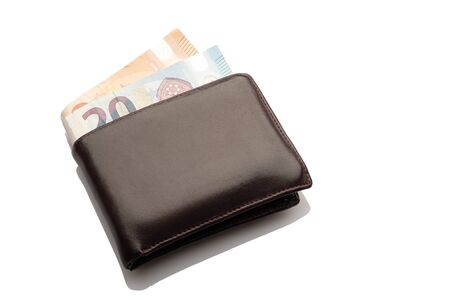 Photo for Leather purse with euro bank notes white isolated - Royalty Free Image