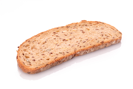 Photo for Slice of whole grain bread white isolated - Royalty Free Image