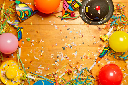 Photo for Party article on wooden floor - Royalty Free Image
